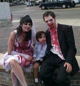 Local artist Forrest King and family at Zombie Fest