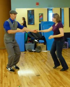 Kevin Bretting and Bonnie Robinson practice technique on the swing out.  Picture taken by Anne Guzzo