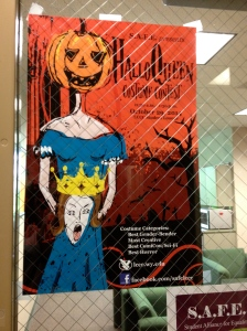 A well designed poster for the HalloQueen costume contest.