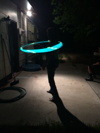 Brooke Gritten with her $400 LED Hoop. I could not make this stuff up.