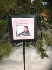 Jessie Hall's tree marker. Every tree in the Hemi Lighted Forest of Hope is dedicated to a different child who has had to undergo brain surgery.