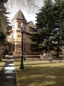 Veiw of the Ivinson Mansion grounds in winter